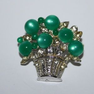 Vintage silver and green basket brooch